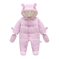 Fashion Baby Girl Romper Winter Thick Warm Baby Boy Clothing Overalls Long Sleeve Hooded Jumpsuit Kids Newborn Outwear for 0 24M