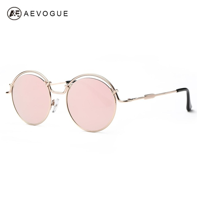 AEVOGUE Sunglasses Women Newest Steampunk Style Original Brand Designer Copper Round Frame Sun Glasses  With Box UV400 AE0394