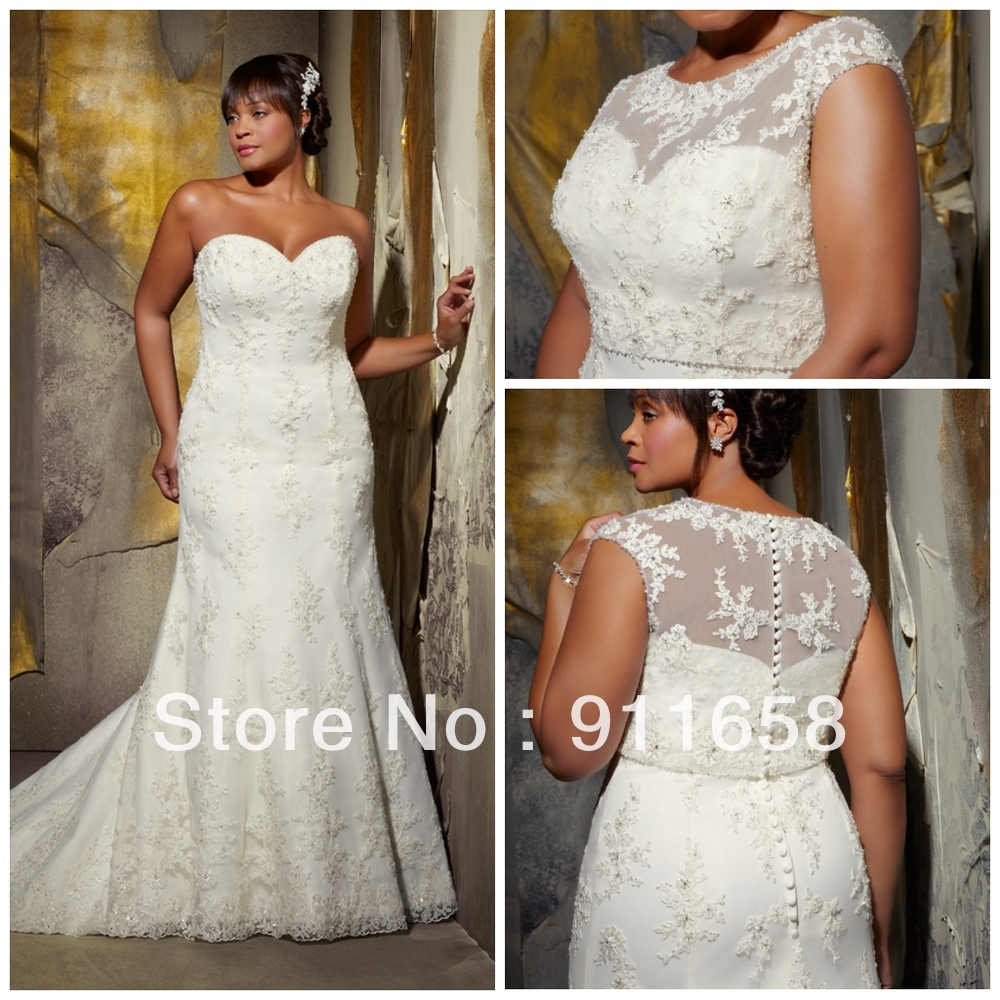 Bolero For Wedding Gown: Sweetheart Lace Applique Princess Court Train Mermaid