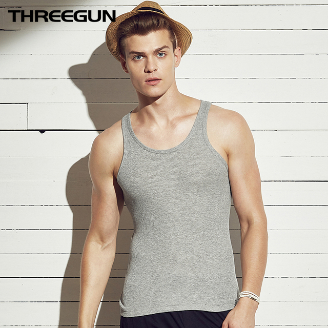 THREEGUN 100% Cotton O-Neck Undershirts Basic Men Bodybuilding Sleeveless Undershirt Fitness High Elastic Muscle Men Top 3 Color