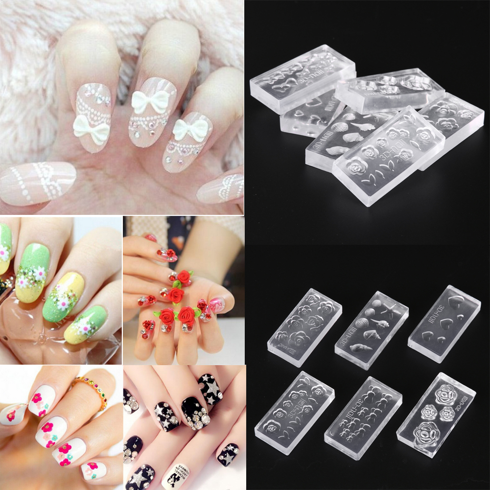 6pcs 3d acrylic mold for nail art decorations diy design for 3d acrylic nail art mold diy decoration