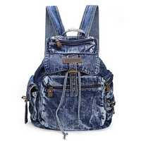 BP102701 Hot Sale Womens Fashion Denim Backpack Girls Casual Travel Canvas Jeans Vintage School Backpack Free