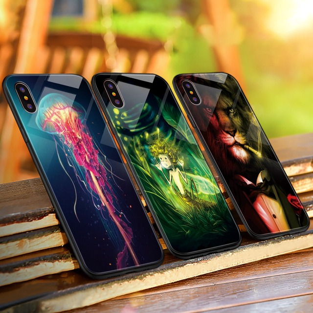 Luminous Animal Glass Case For iPhone 6, 6S,7,8plus,X,XS,XS MAX