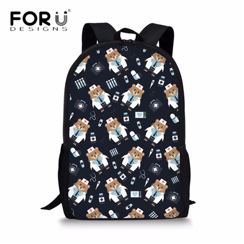 FORUDESIGNS Fashion Cute Nurse Bear Print School Backpack for Kids Boys Casual Bookbags School Bag Daily Travel Daypack Mochila