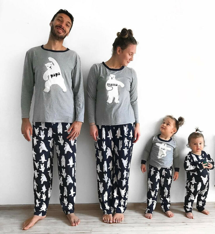 Hot New Family Matching Outfits Cartoon Bear Pajamas Set PJs Set Father Mother Kids Baby Adult Kids Baby Sleepwear Nightwear