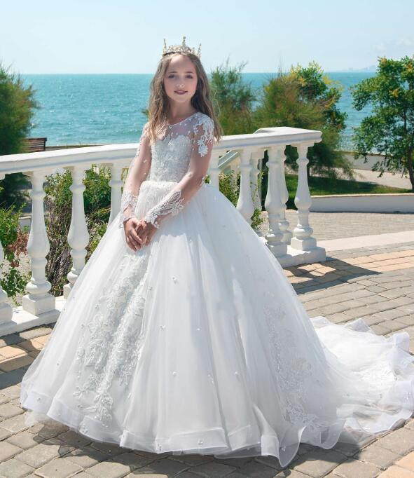 White Lace Customized Flower Girls Dresses for Wedding Long Sleeves Lace Beaded Applique Communion Dress Pageant Gown for Girls ladylike applique beaded tank top for women