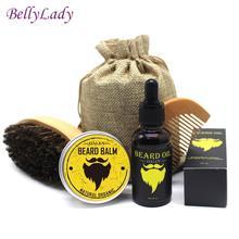 BellyLady Mænd Skægsrør Creme Skægbeskytter Børstebørste Opbevaringsbag Beard Oil Kit