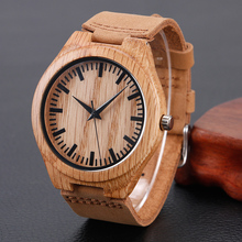 Casual Nature Wood Bamboo Genuine Leather Band Strap Wrist Watch Men Women Cool Analog Bracelet