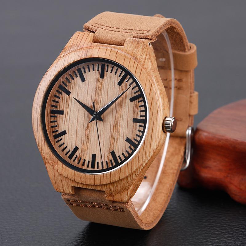Prix pour Casual Nature Bois Bambou Véritable Bande de Cuir Bracelet Montre-bracelet Hommes Femmes Cool Analogique Bracelet Cadeau relojes de pulsera