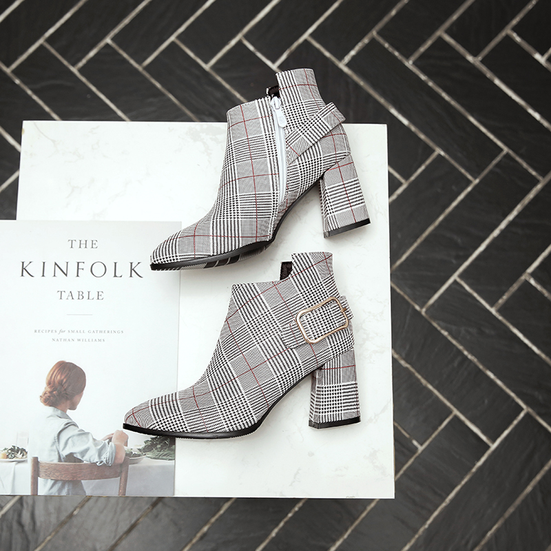 Women's Boots, Fashion Plaid Pointed Toe High Heels, Winter Ankle Boots 14