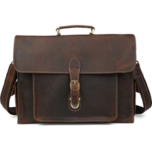 TIDING Vintage leather briefcase for men 14′ laptop bag 2015 new genuine leather handbag 11466