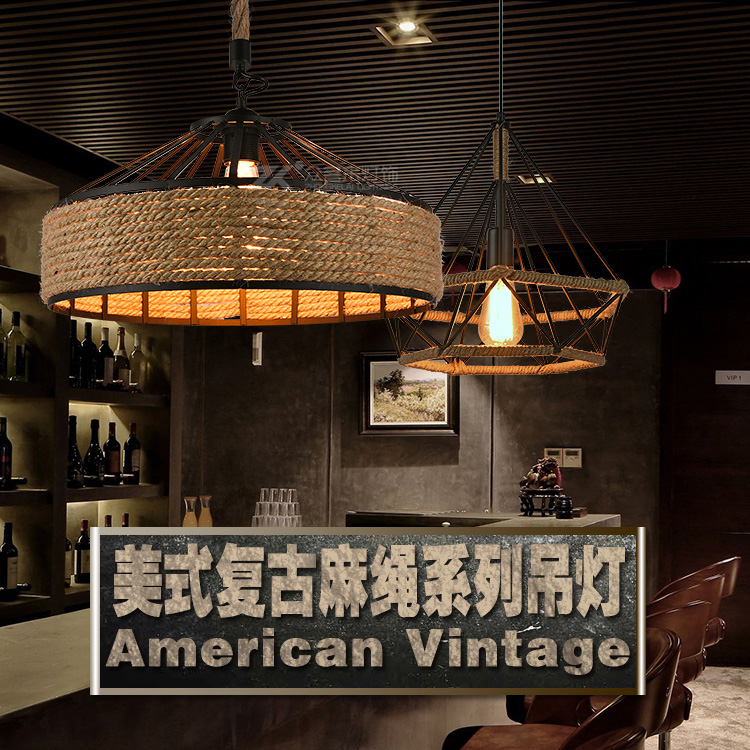 American country retro loft creative chandelier personality hemp rope yurt restaurant bar hot pot shop lamps led light E27 american style retro loft chandelier bar restaurant hot pot shop coffee iron chandelier led lamp 8 heads