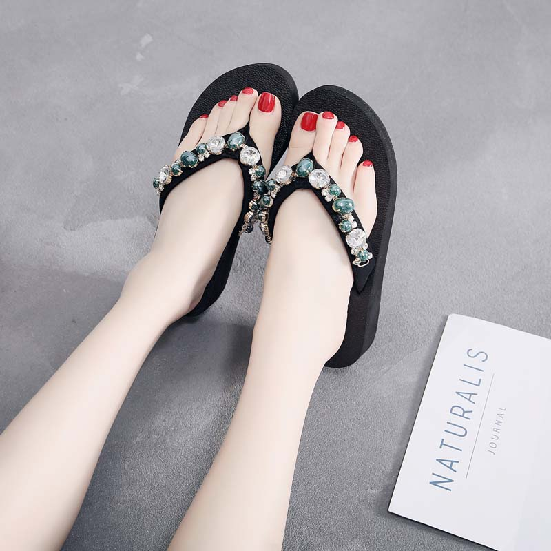 WENYUJH Fashion Bohemian Flip Flops Beading Flower Platform Wedges Beach Slippers Shoes 2019 Women Summer Non-Slip Shoes SandalsWENYUJH Fashion Bohemian Flip Flops Beading Flower Platform Wedges Beach Slippers Shoes 2019 Women Summer Non-Slip Shoes Sandals