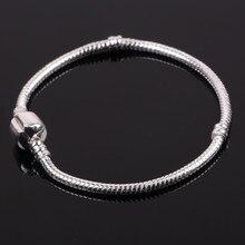 Moda 925 Charm Pulsera de Cadena de Serpiente de Plata Cierre Clip Encantos Del Grano de la Pulsera Europea Apta DIY Joyería de Las Mujeres