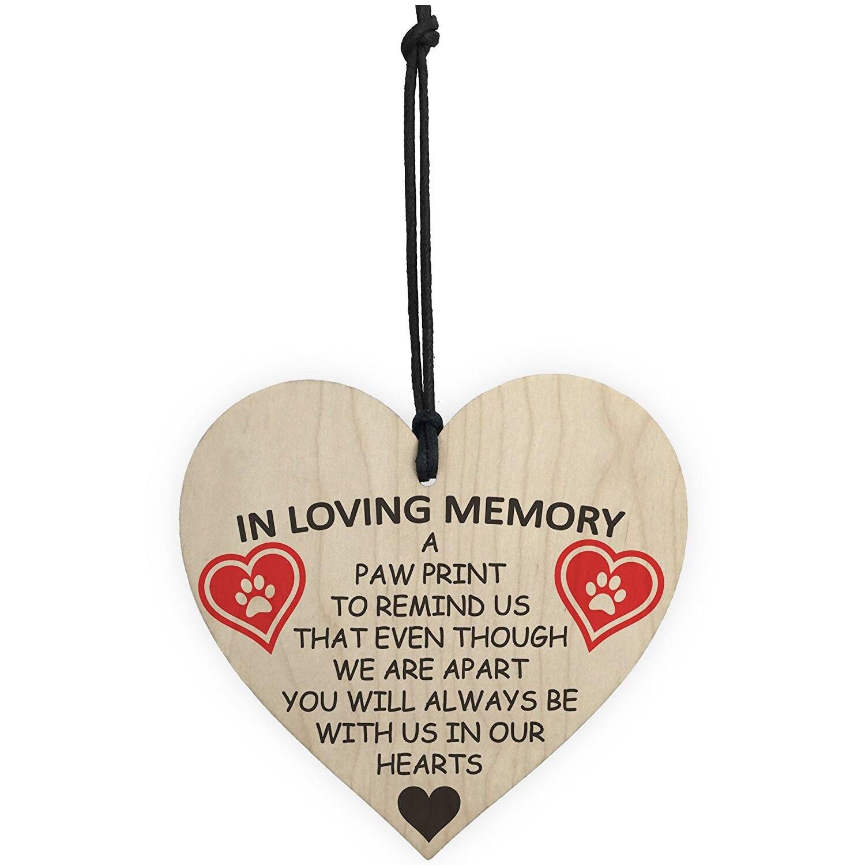 Лидер продаж в любящей памяти Pet Paw Print висит деревянная висит сердце мемориальная доска знак