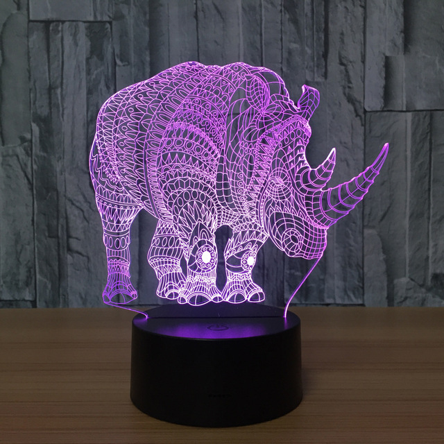 Novelty D Animal Rhinoceros Night Light LED Illusion Lamp USB - Touch lights for bedroom