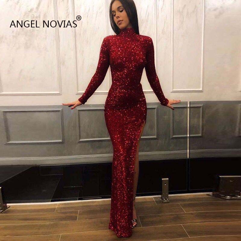 ANGEL NOVIAS Long Sleeves Burgundy High Neck Arabic Evening Dress 2019 With Slit Formal Gowns Party 2018 Vestido Sirena Largo