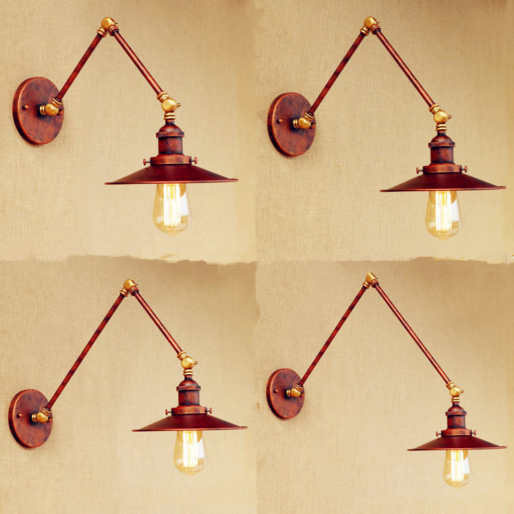 Rustic Adjustable Swing Arm Wall Lamp Vintage Wall Light LED Arandela Edison Loft Industrial Wall Sconce Appliques Murales loft nordic vintage wall lamp classic black art sconce decorative light adjustable arandela led swing 2 arm wall lights reading