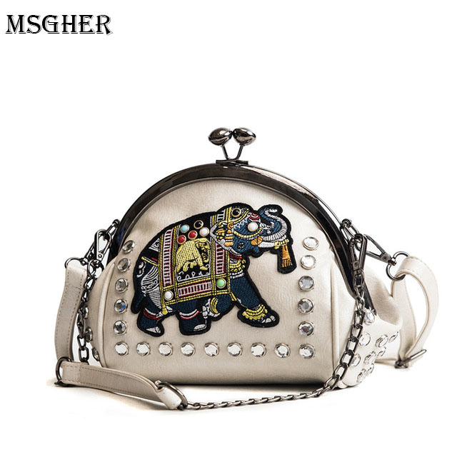 M.S Elephant Embroidery Appliques Womens Small Bag National Crystal Rivets Hasp Bucket Handbags PU Leather Crossbody Bags WB466