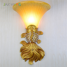 French Retro Bedside LED Wall Lamp Fashion Warm Goldfish Living Room E27 Creative Bedroom Aisle Energy Saving