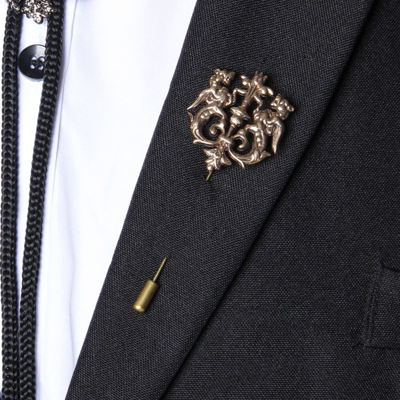 retro shirt black sunglass stud lapel pin and knighthood brooch product