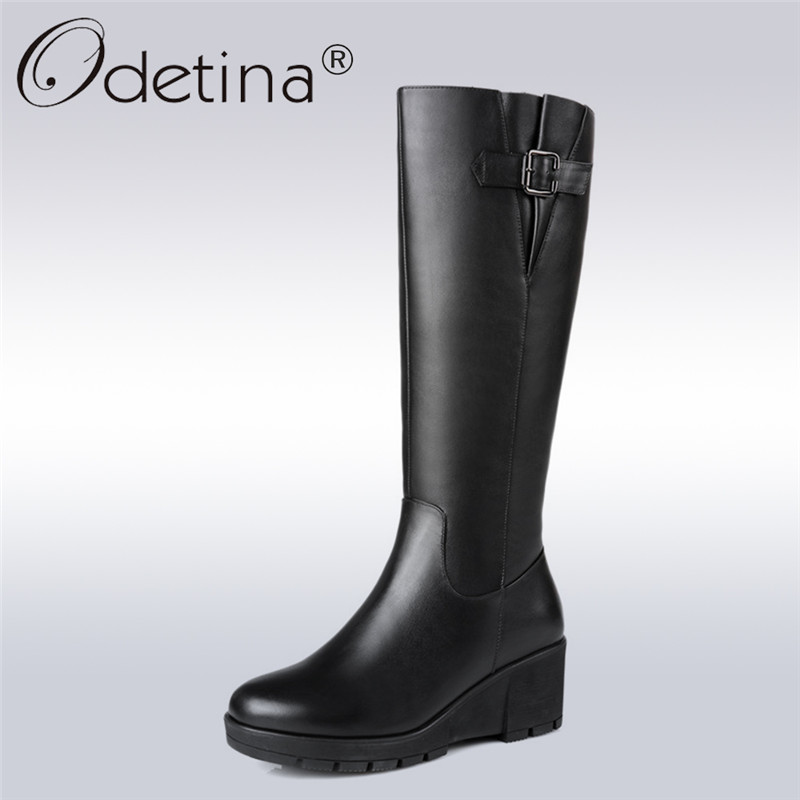 цены на Odetina 2018 Fashion Woman Genuine Leather Mid-calf Boots Zipper Wedges High Heel Wool Shoes Buckle Platform Winter Warm Shoes в интернет-магазинах