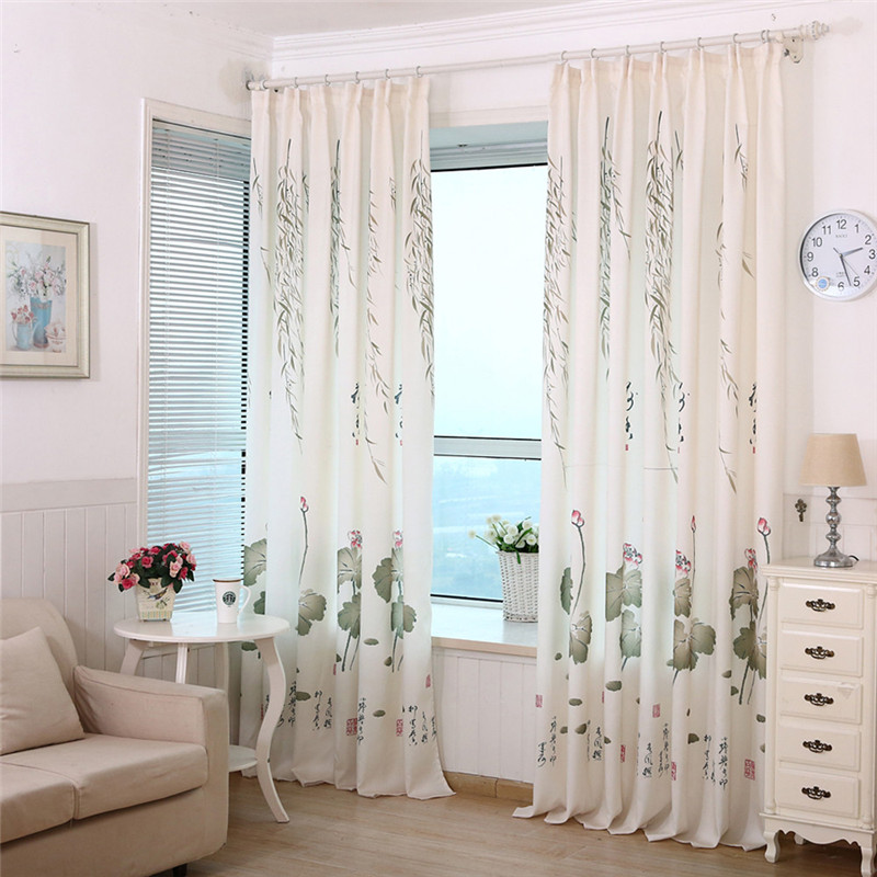 2016 New Fashion Cheap Price Lotus Leaf Calico Finished Product Cloth  Window Screens Curtain Hot Sale