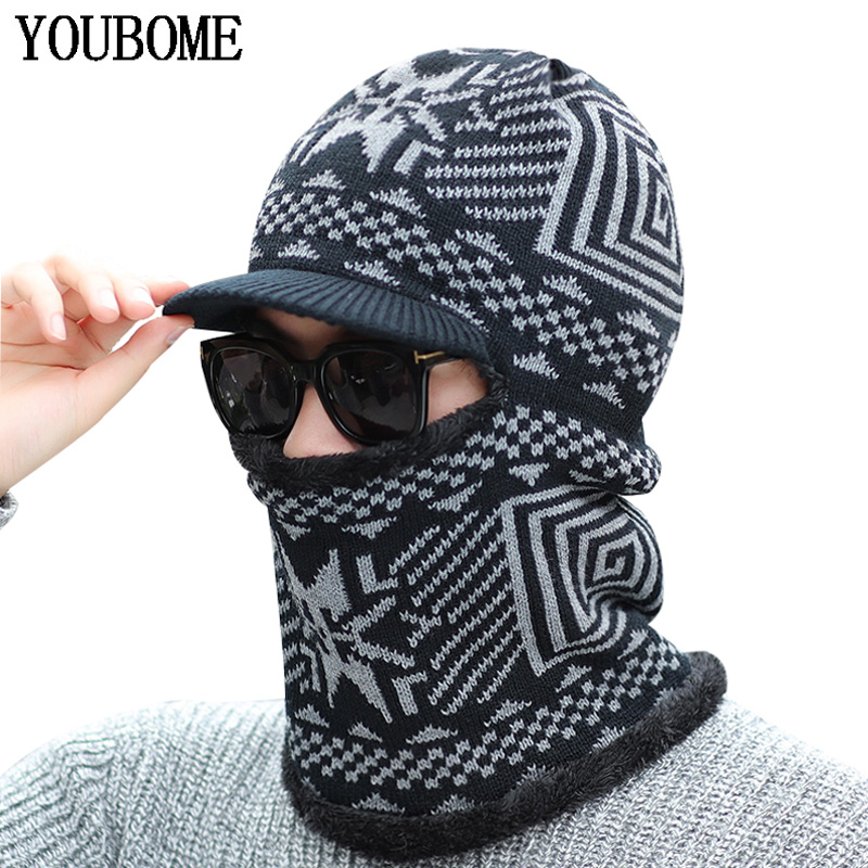YOUBOME Winter   Skullies     Beanies   Hat Men Winter Knitted Hat   Beanies   For Men Women Scarf Print Warm Neck Thick Male Ring Hat Cap