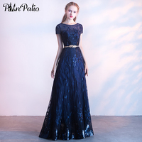 Блестящие Темно синие блесток платья выпускного вечера прозрачный с коротким рукавом Длинные фатиновые торжественное платье элегантный П
