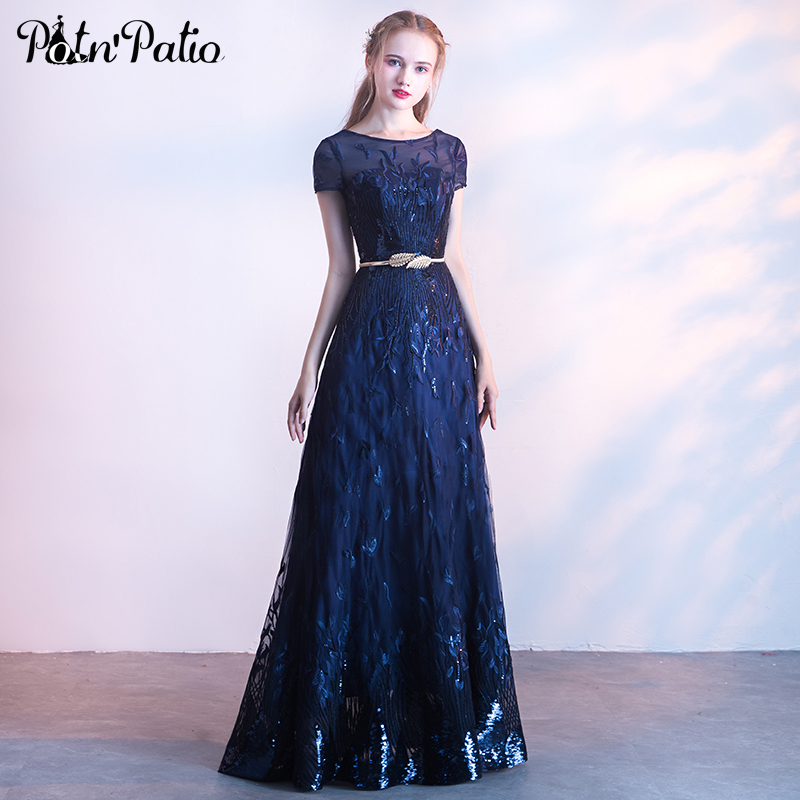Shiny Navy Blue Sequin   Prom     Dresses   Transparent Short-Sleeve Long Tulle Formal   Dress   Elegant Special Occasion   Dresses