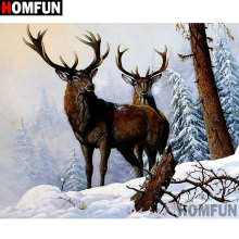 HOMFUN Full Square/Round Drill 5D DIY Diamond Painting Animal deer Embroidery Cross Stitch Home Decor Gift A16417