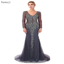 цена Luxury Grey V neck Mermaid Evening Dresses with Long Sleeves   Sweep Train Beading Crystal Sparkly Evening Gown Robe De Soiree