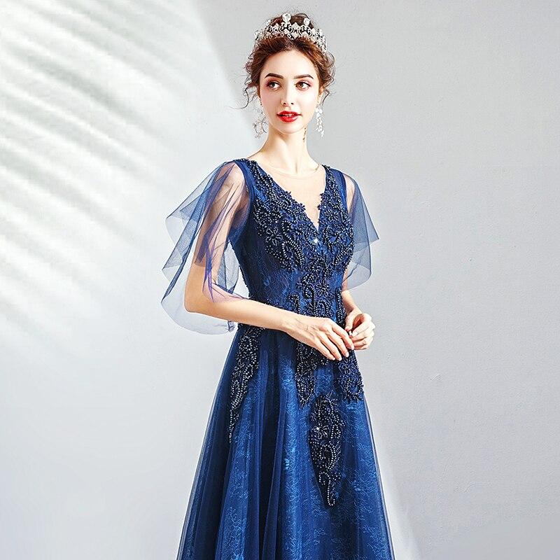 2019 Robe De soirée col en v longue grande taille femmes fête Robe De bal avec manches Vintage bleu Royal dentelle élégante Robe De soirée E223 - 4