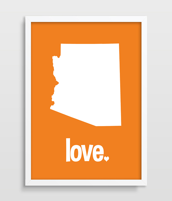 Arizona Typography Print Map Art Us States Poster Map