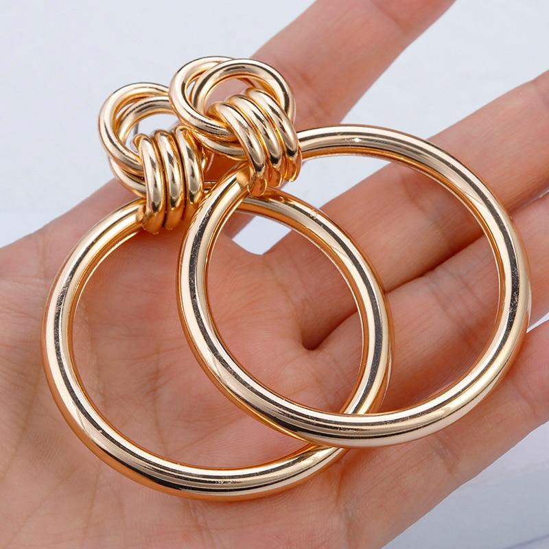 AENSOA Einfache Trendy Gold Farbe Big Runde Ohrring Mode Aushöhlen Punk Metall Tropfen Ohrringe Für Frauen Schmuck Zubehör 2019