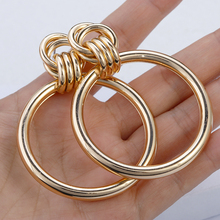 AENSOA Simple Trendy Gold Color Big Round Earring Fashion Hollow Out Punk Metal Drop Earrings For Women Jewelry Accessories 2019