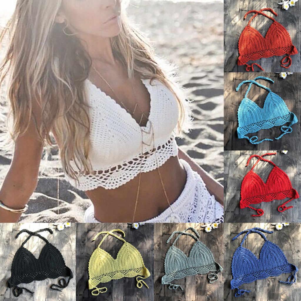 المرأة الصيف 9 الألوان الدانتيل Tankini السباحة الصلبة أبيض أسود الأزرق الكروشيه محبوك قطعة من ملابس السباحة بحر أعلى مبطن ملابس السباحة