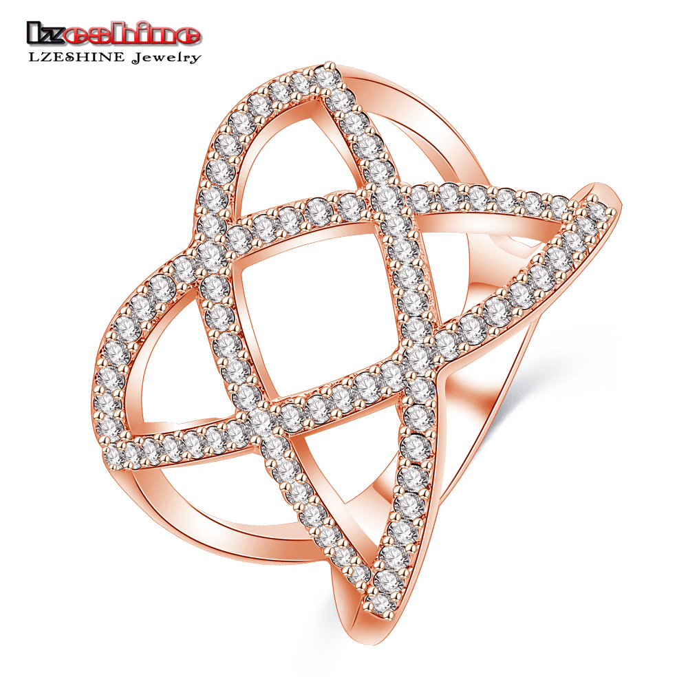 LZESHINE Big Promotion Sale Exclusive Ring Hollow Out Cross Flower Pave CZ Stones Silver Color The Ring Women Jewelry CRI1025
