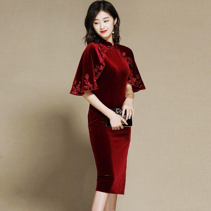 Velvet Dress 2019 Autumn Fashion Pencil Dresses Cape Sleeve Dress Midi Elegant Vintage Robe Femme Banquet Vestidos AA4571