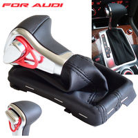 Gear Stick Shifter Knob Lever With Gaiter Boot Leather Cover Fit For Audi A4 A5 A6 Q5 Q7 B8 Auto Car Gear Shift Knob
