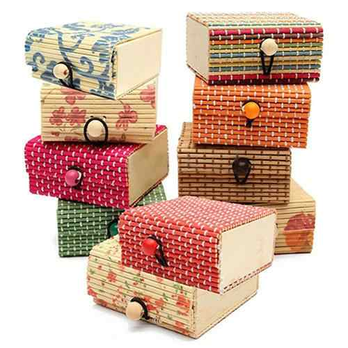 Jewelry Storage Cases Bamboo Wooden Ring Necklace Earrings Case Jewelry Boxes Holder Gift 11 Colors Jewelry Box Jewelry Gift Box