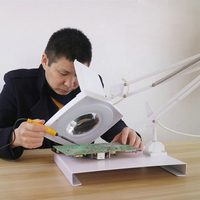 220V 5X Circline LED Lamp Identify Repairing Magnifying Glass Foldable Desktop Metal Workbench Board Magnifier for Soldering