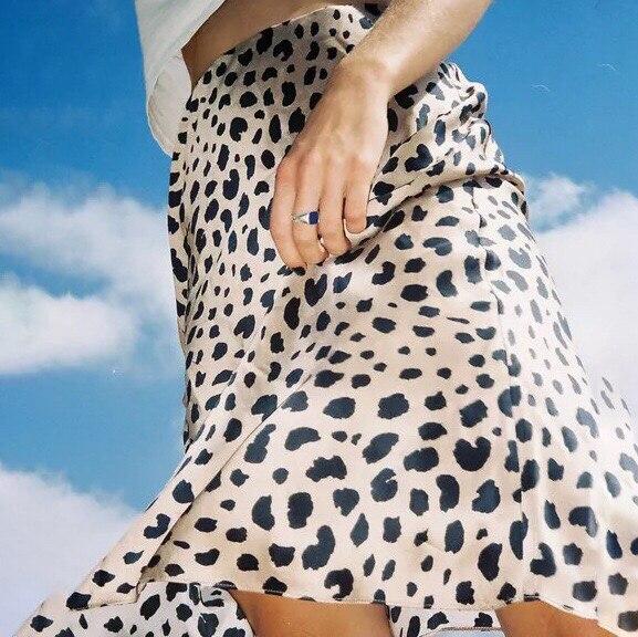 Léopard 100Soie Mi Trompette Taille Haute Dame Jupes Mode 2019 Sexy mollet Imprimé Nouveau Printemps nk0POw