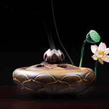 Ceramic Lotus censer cone incense burners coil burner quemador incienso buddhist temple supplies free shipping