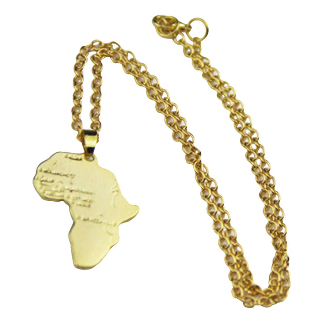 מעולה היפ הופ סגנון אפריקאי מפת שרשרת אופנה אפריקאי קסם תכשיטי נשים/גברים מתנה טרנדי זהב כסף מכירה לוהטת