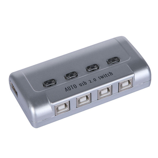 4 Port Auto USB 2.0 Selector Switch Printer Flash Driver Mouse