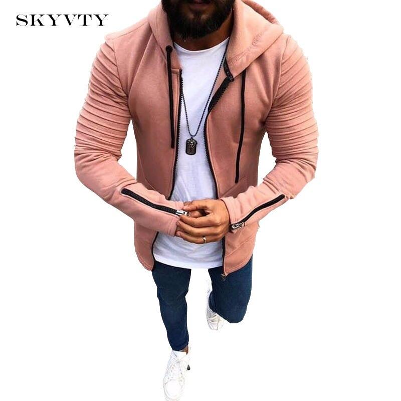 2018 Primavera Verano hombres sólido Zip con capucha cardigan chaqueta hombres abrigo hombres sudaderas con capucha chaqueta Casual marca ropa hombre Outwear