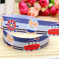 DHK 7/8'' Free shipping navy bear printed grosgrain ribbon hairbow headwear party decoration diy wholesale OEM 22mm P5245