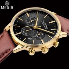 Megir relógio com cronógrafo feminino, relógio de marca de luxo elegante clássico para mulheres, vestimenta com caixa de relógio de negócios