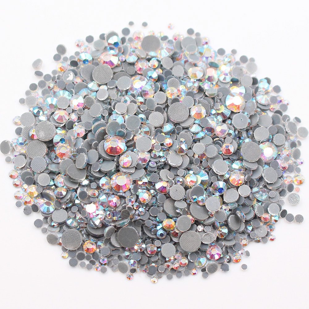 2500pcs Mix Size CrystalAB Round Flatback Crystals Rhinestones Glass Stones And Crystals Strass Hotfix Rhinestones For Clothes